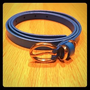 Bright blue thin leather belt by SanFranPsycho